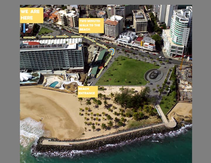 Condado/Breakfast included/Steps from the beach
