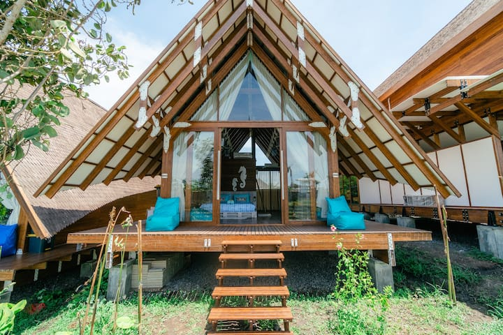 Charming Bamboo Cottage Surrounded by Rice Paddies