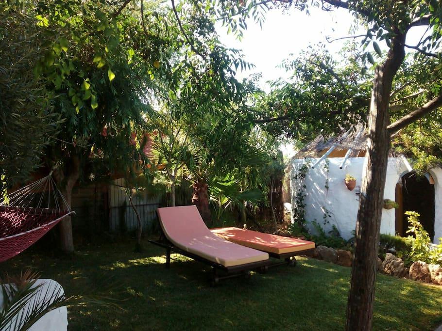 jardín con aseo afuera