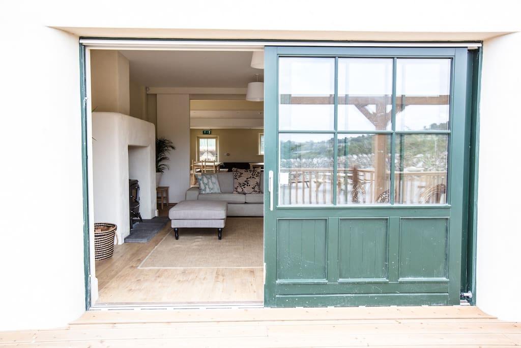 Sliding doors onto outdoor decking