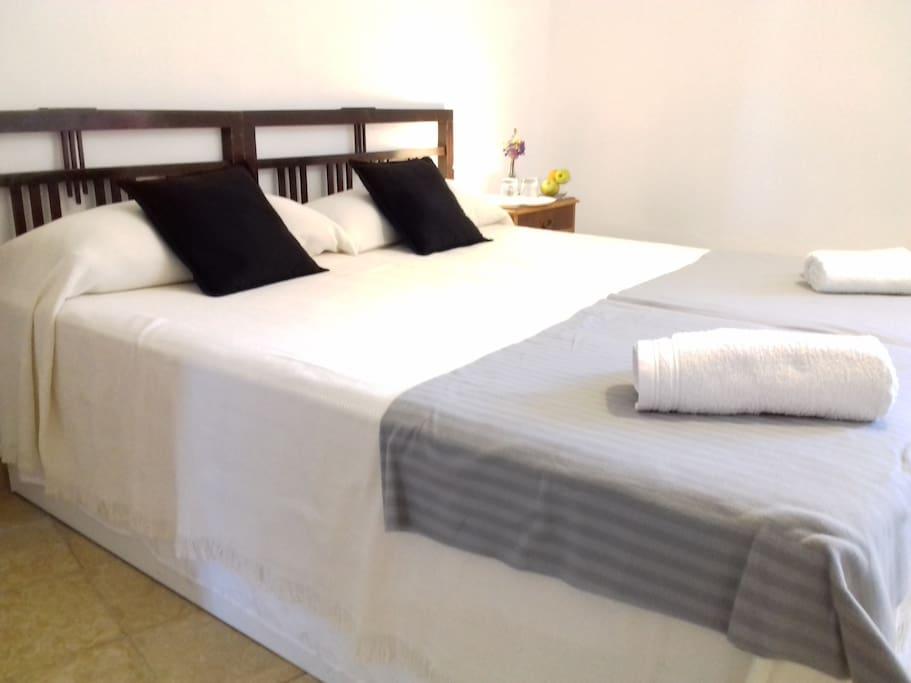 Debido a la variedad de las dos camas pueden estar separadas o juntas formando una cama de matrimonio