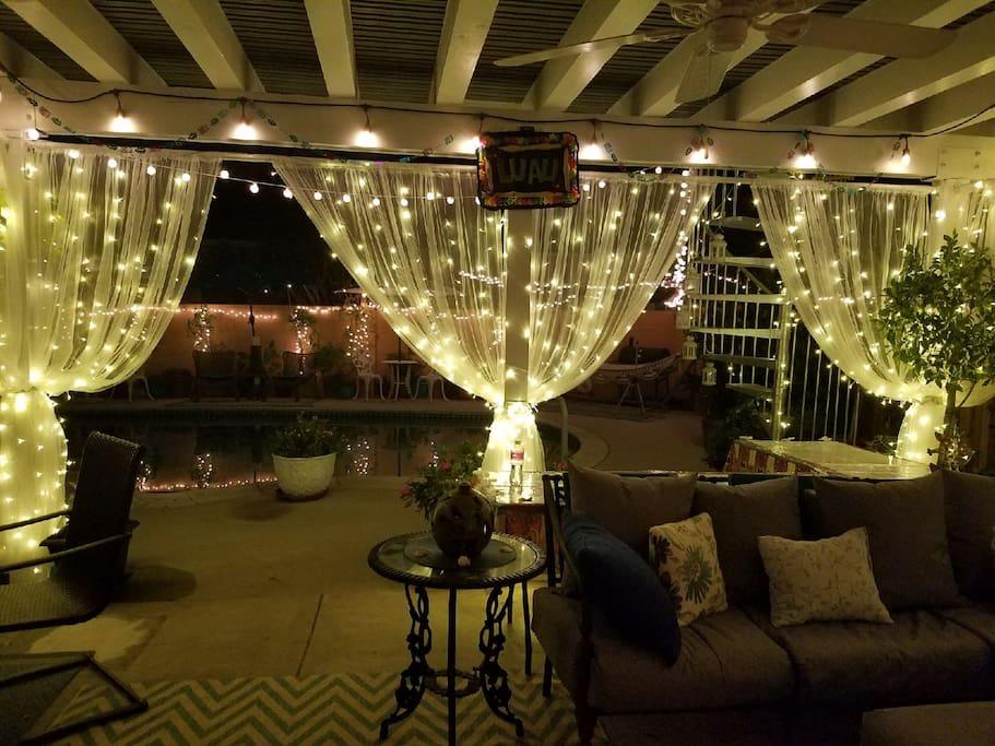 Beautiful patio at night