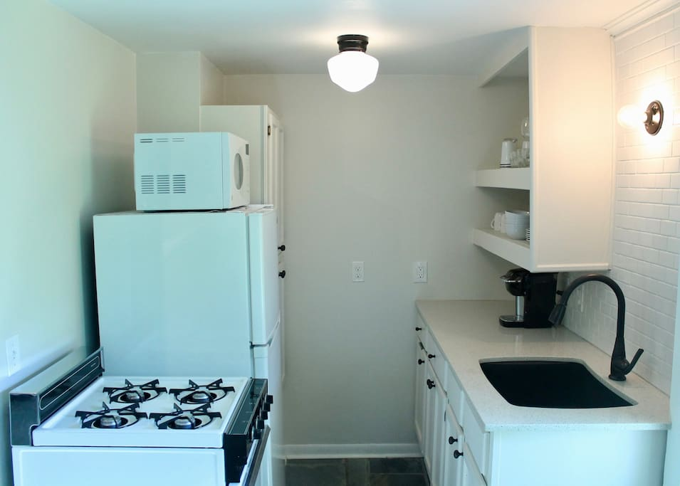 The full Kitchen is stocked with basic essentials-pots, pans, cookie sheets, etc.