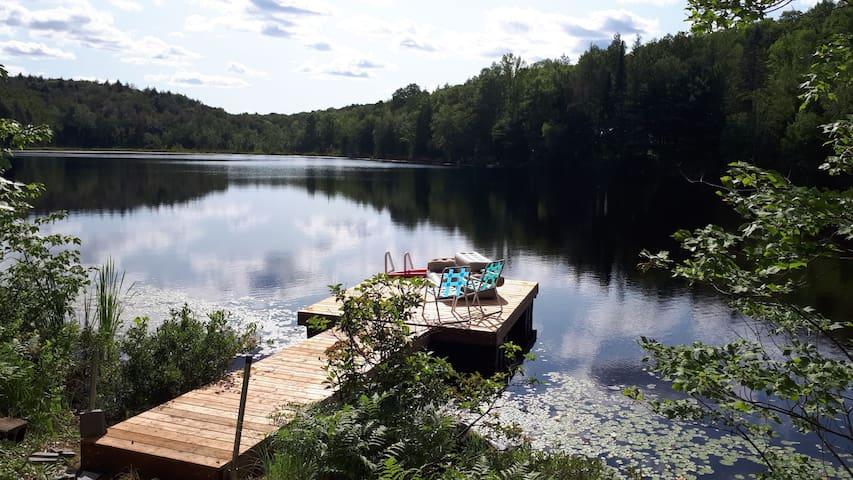 Adorable chalet bord de lac avec spa extérieur