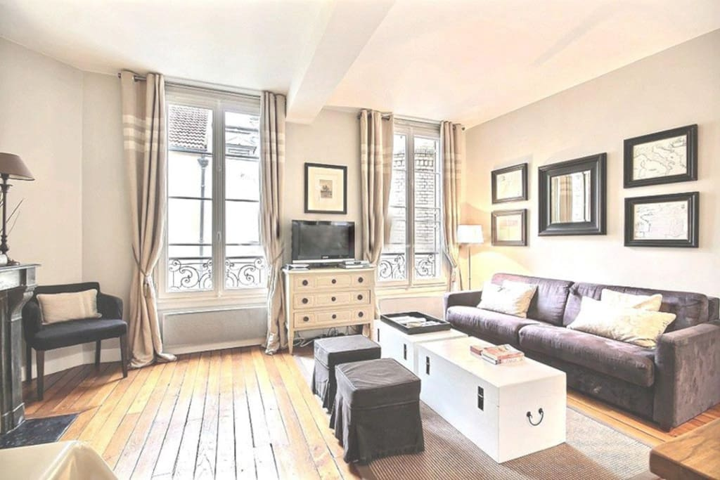 Living   The 25 square meters living room has 2 double glazed windows facing courtyard . It is equipped with : double sofa bed, coffee table, cable, TV, DVD, chest of drawers, decorative fireplace, hard wood floor.