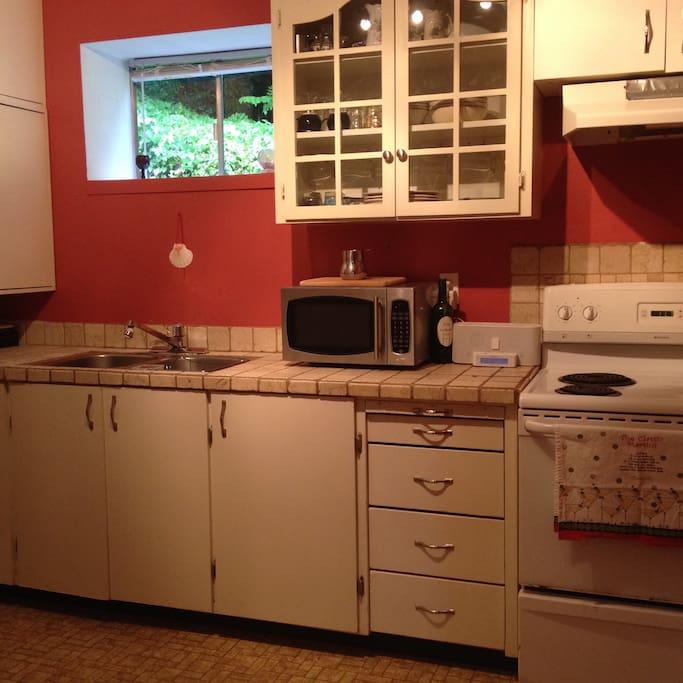 Stove, microwave and full-size fridge/freezer.