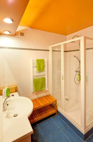 Grande cabine de douche, machine à laver le linge