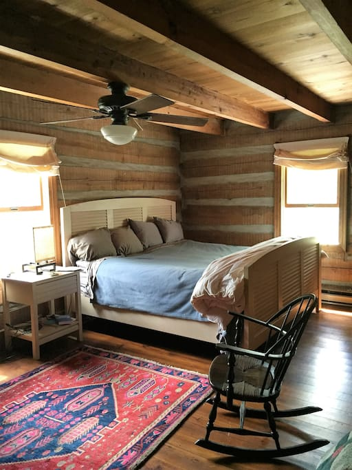 #1 Bedroom with exposed log