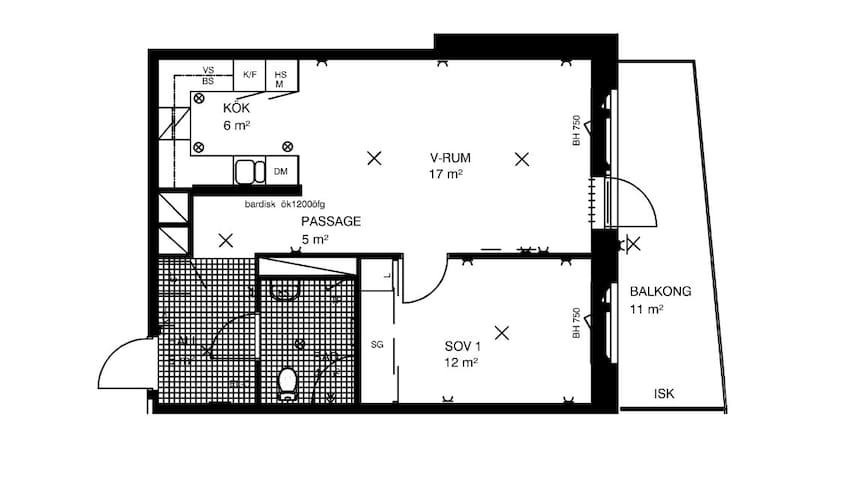 Brand new apartment with balcony, on the top floor