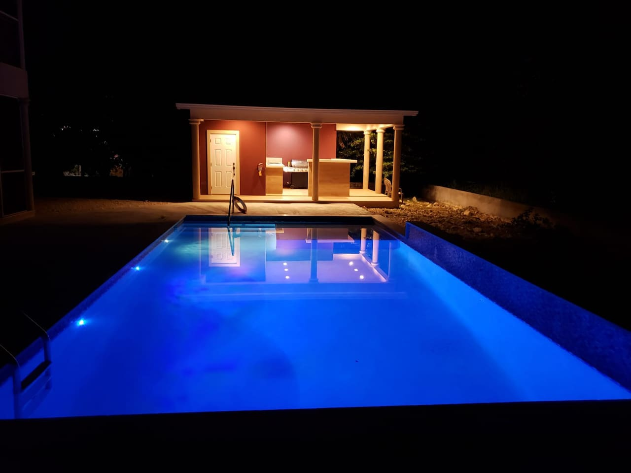 Newly built 30 X 15 ft pool with shelve and water feature. 3 to 6 feet  deep.  Gazebo is fully equipped with full bathroom and BBQ grill. Perfect for your relaxation & entertainment.  Shared with other guests