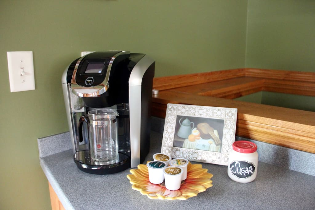 Coffee bar in the kitchen.