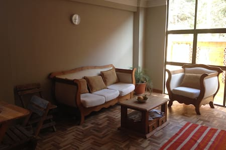 A place with a great view on the city of La Paz. In a very calm, safe and familial street. 5 minutes from the teleferico station of Obrajes. Next to the traditional market of alto-Obrajes. With two children who love to play with others.
