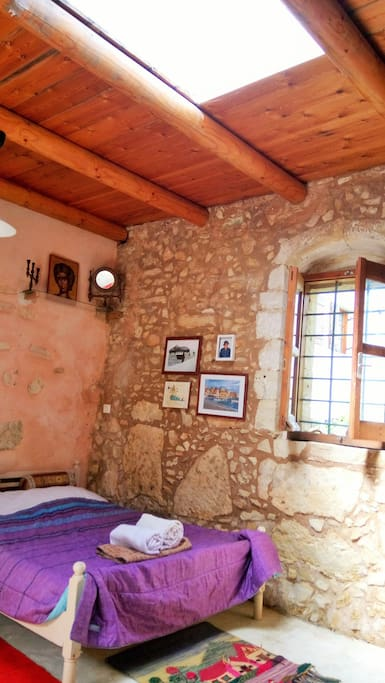 Main bedroom: where you sleep under the moonlight and the night sky!