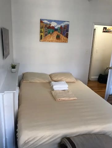 Please click into the picture to see the full photo!!  View of the brand new queen sized bed!