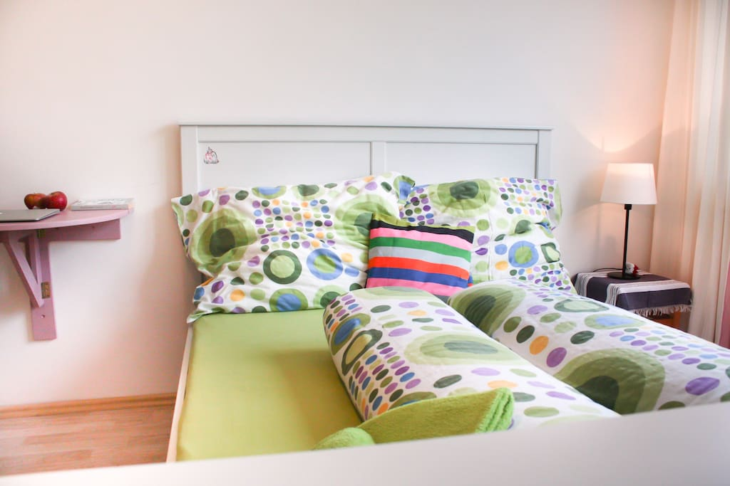 In your comfortable and stylishly colorful double-bed