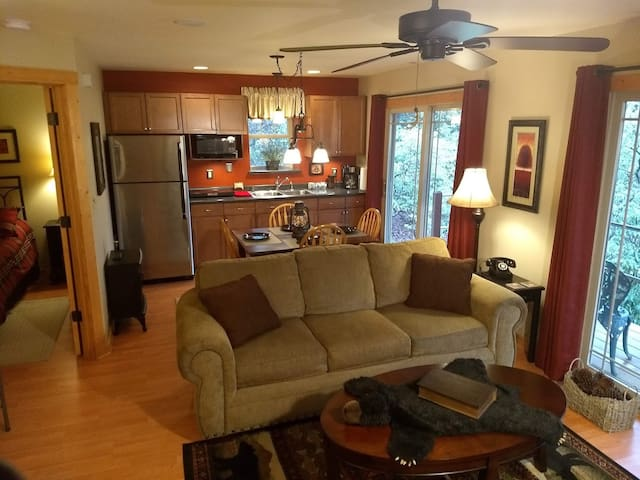 Living, Dining, and Kitchen area