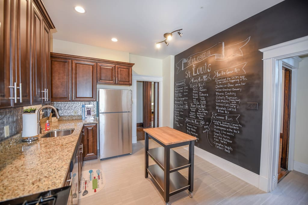 Brand new kitchen appliances and artistic chalkboard wall full of local St. Louis Hotspots!