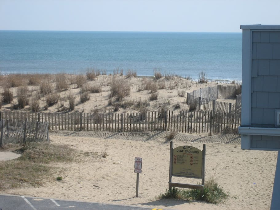 View of dune and beach taken from steps