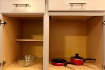 Pots, pans and bowls included