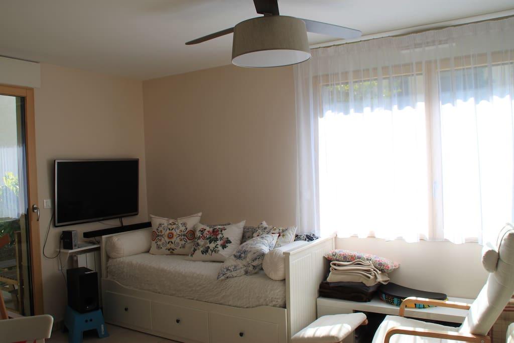 Salon avec son canapé-lit dans le salon couchage double 2x80 sur 200