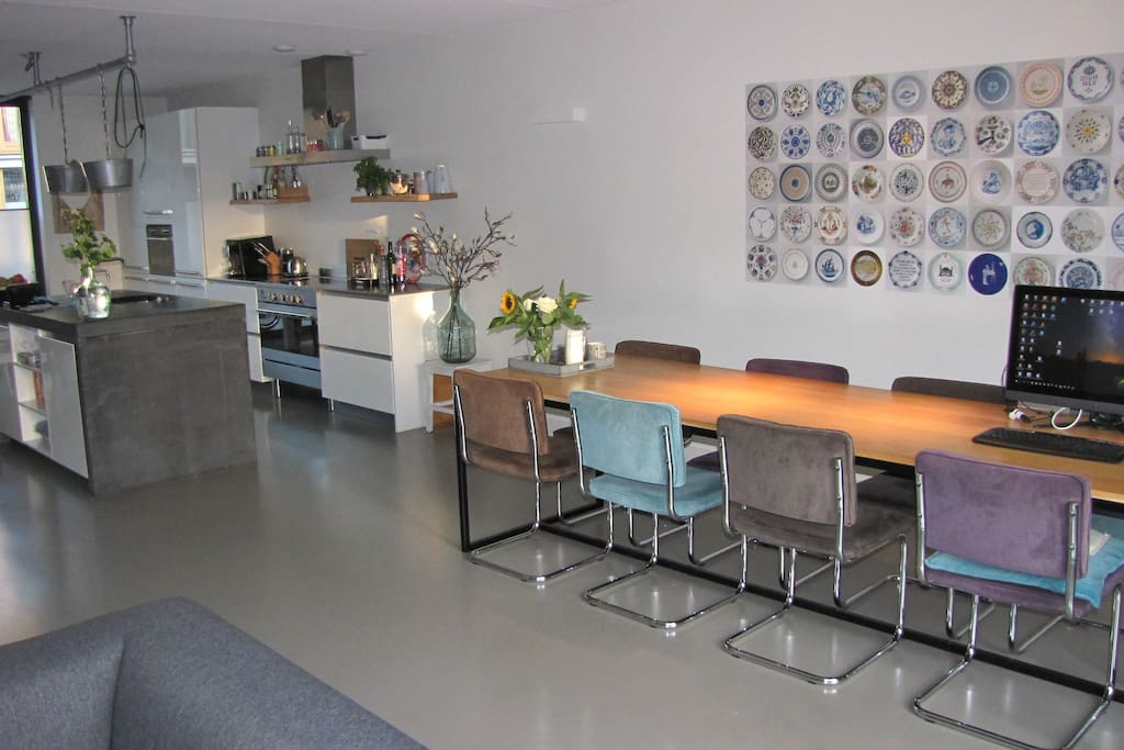 Kitchen and dining table for 10 persons