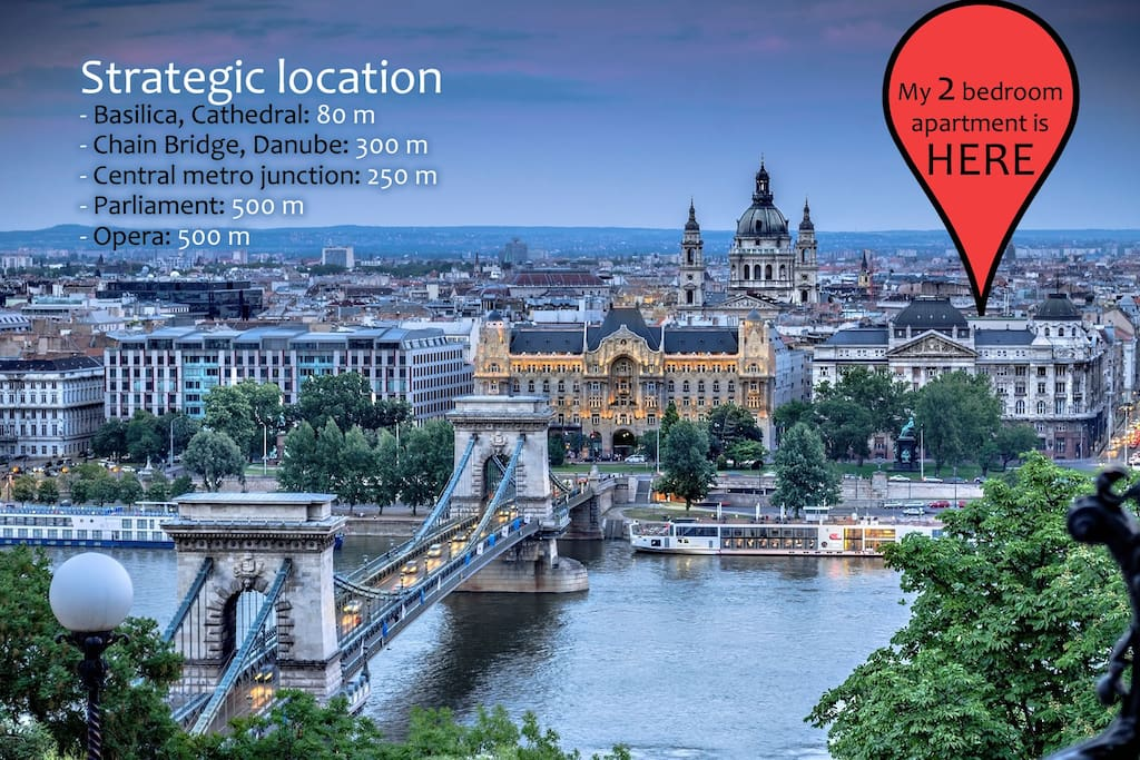 Ultimate location by the St. Stephen's Basilica. Just a few minutes walking to major attractions: Chain Bridge, Danube, Parliament, Opera, main metro junction. Freedom Square etc.