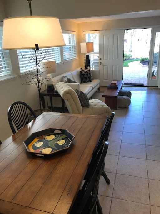 Come into the living and dining areas to begin your stay