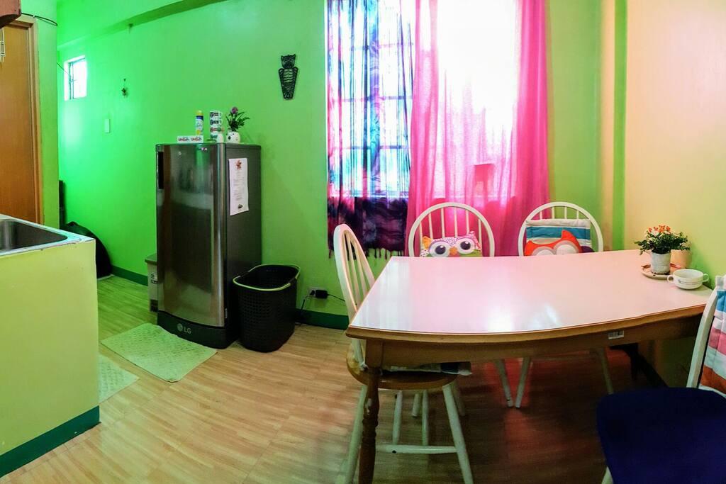 Dining area with full size fridge