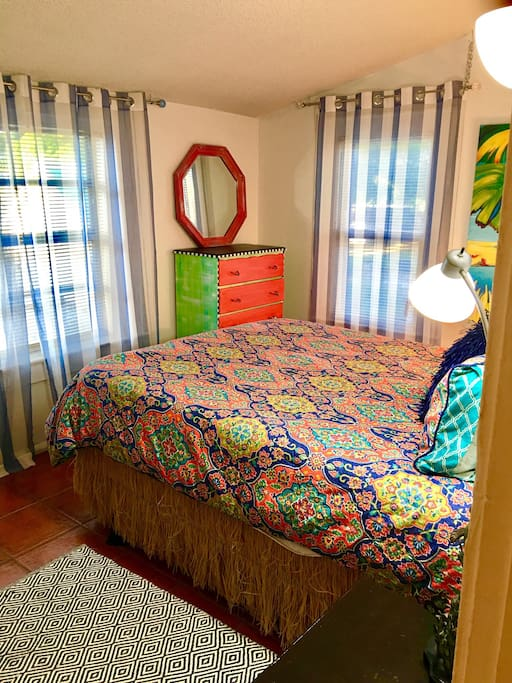 It's just so tropical. You will feel right at home! New Queen size foam mattress, bamboo sheets, and always exceptionally clean!