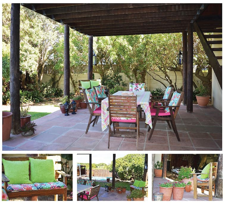 The outside area is below your room and has comfortable chairs for those lazy days when you just want to stay in and read a good book. You have access to the swimming pool and deck lounges as well as a weber braai on request. The parking is off street parking under a car port.