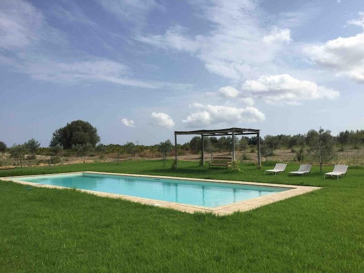 Fresh restored winefarm house with pool.