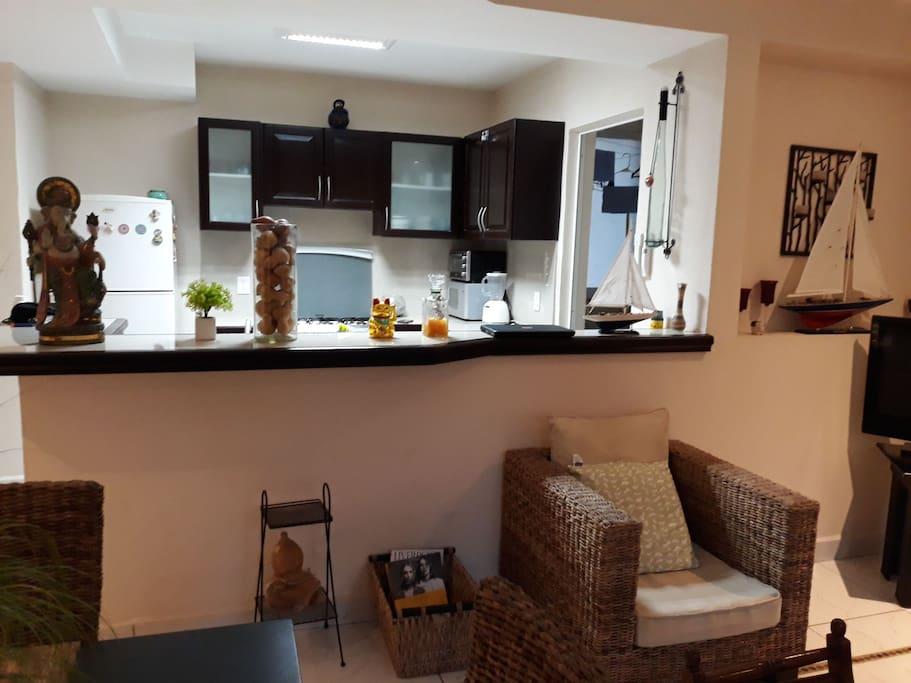 barra, cocina y gabinetes.