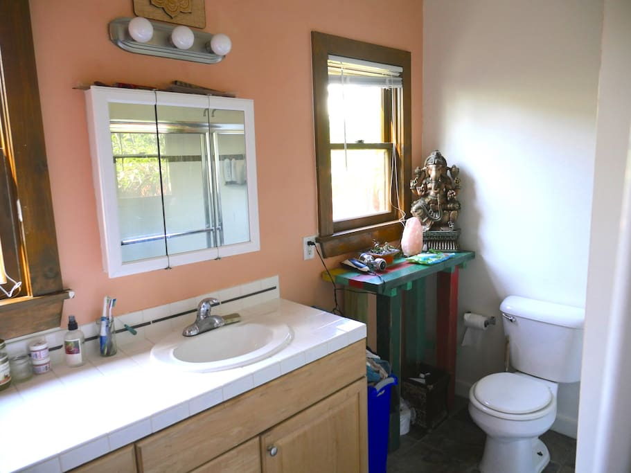 Large bathroom for this size unit. Slate Stone Floors and washer and dryer.