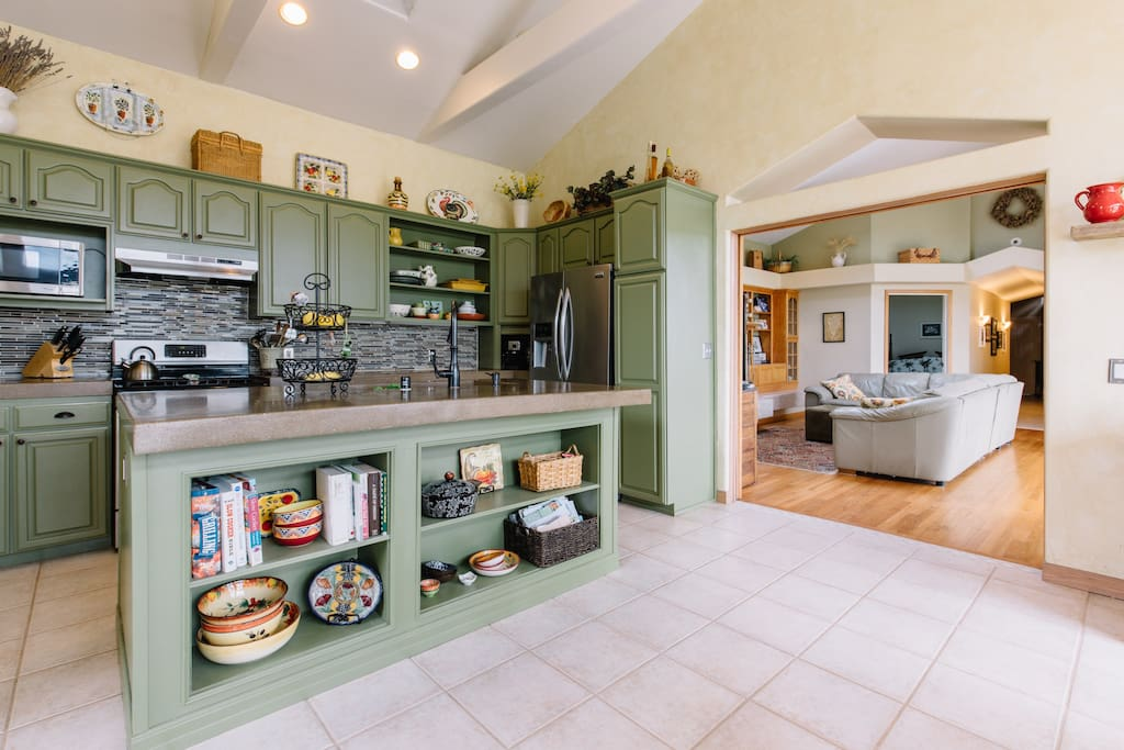 Large, newly remodeled kitchen adjoins the living area.