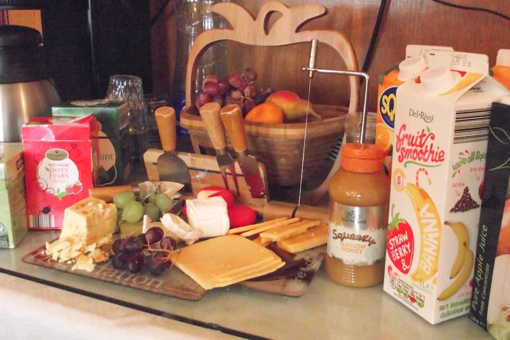 Selection of fruits, cheese, Juices etc.