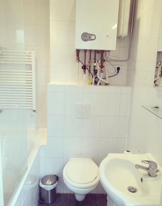 Privat bathroom with a bathtub, a shower, a toilet and a sink.