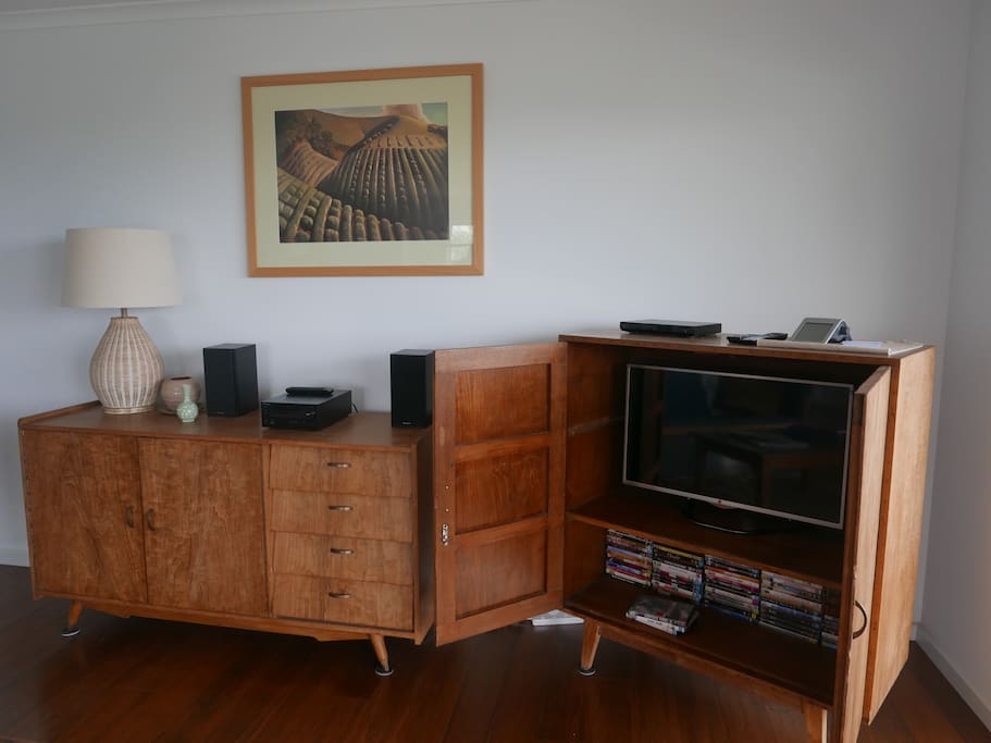 TV, DVD and DVD library upstairs