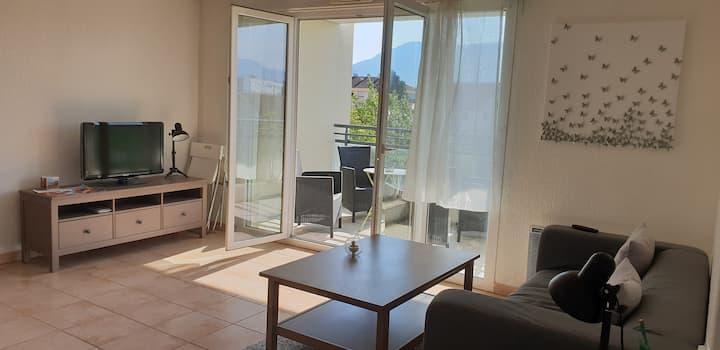 Cosy flat near railway station (10 min Geneva)