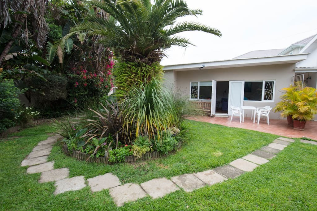 The Cottage offers use of a Weber braai and has some outdoor seating to enjoy the garden.