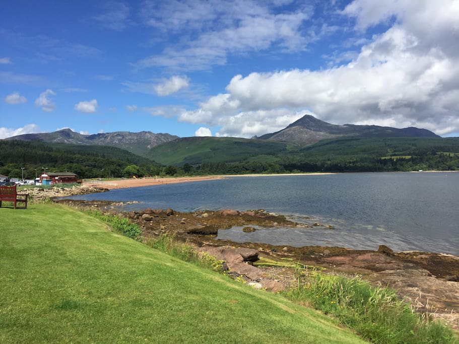 Views over Brodick Bay to the Mountain of Goatfell