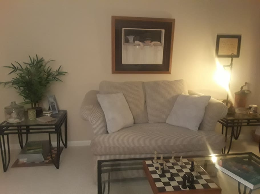 2nd Room - Private OPEN SUITE w/ Love Seat Sofa Bed (Twin), End Tables, Coffee Table