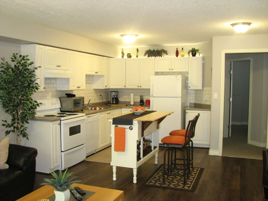 New high end floors, back splash and modern light grey paint throughout.  Kitchen is open concept equipped with all the amenities