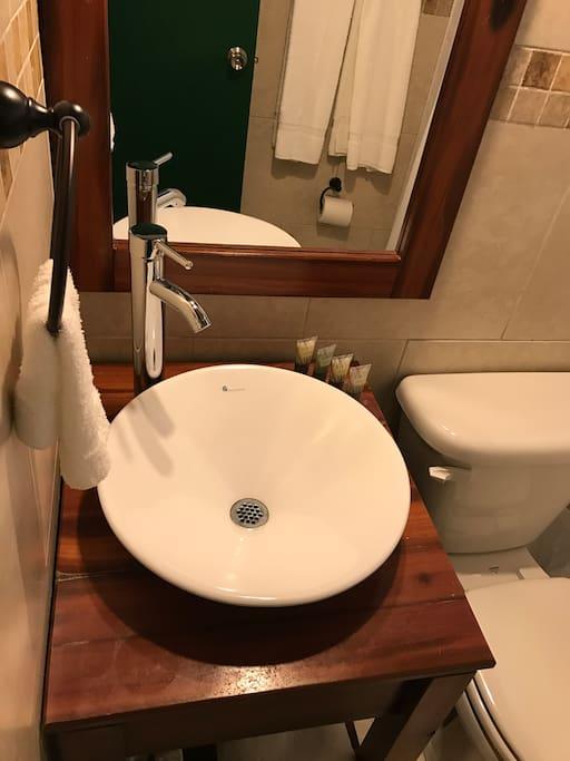Beautifully restored bathrooms.