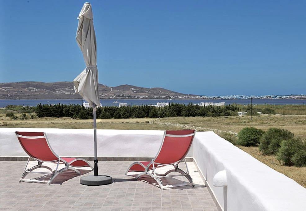 The sea view from the terrace and the opposite island-Antiparos.