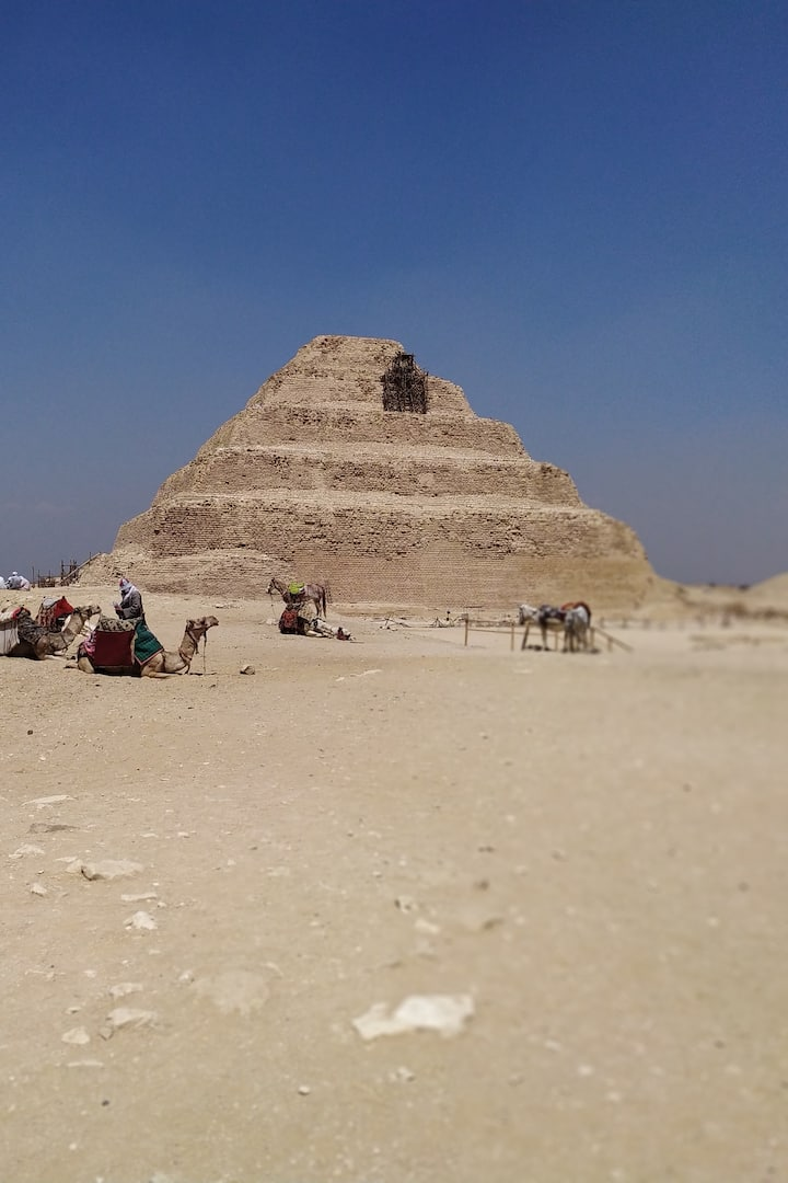 THE STEP PYRAMID OF SAQQARA 60M FOR THE KING ZOSER THEFIRST PYRAMIDS INEGYPT