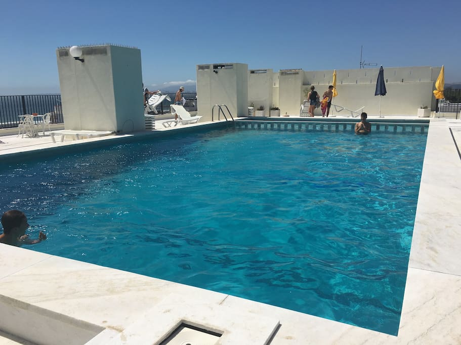 Swimming pool on top of building. Open in June each year until end of August