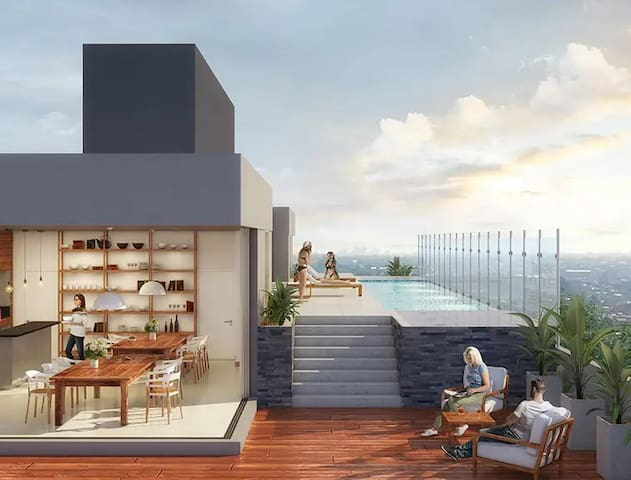 COZY NEW apartment with roof top river view POOL