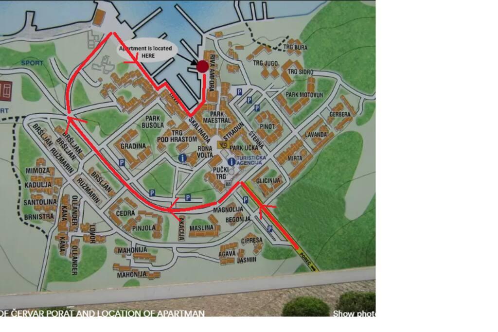 City plan of Červar and how to get to aparment when you enter Červar
