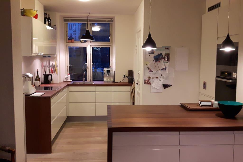 Køkkenet med køleskab, opvaskemaskine, ovn og dampovn