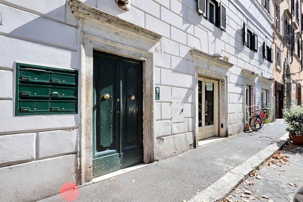 Street view and building door